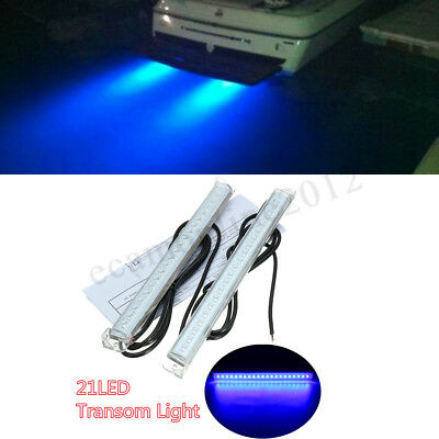 2x 12v 21led Marine Yacht Boat Led Underwater Light Fishing Boat Marine Kit Trim Tab Light Kit Transom Stern Bar Blue Waterproof High Safety Automobiles & Motorcycles
