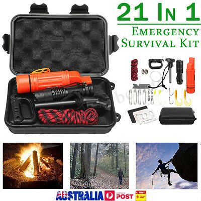 21 in1 SOS Emergency Survival Equipment Kit Tactical Hiking Camping Outdoor Tool