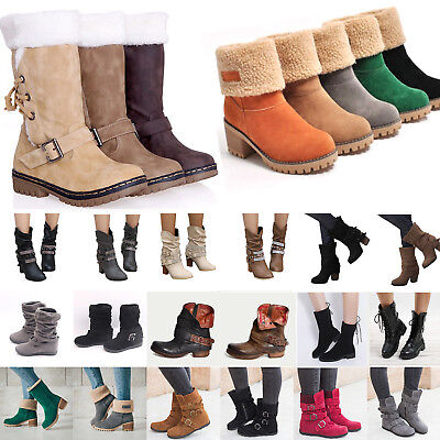 Womens Winter Ankle Snow Boots Chunky Low Heels Warm Suede Boot Flat Shoes Size