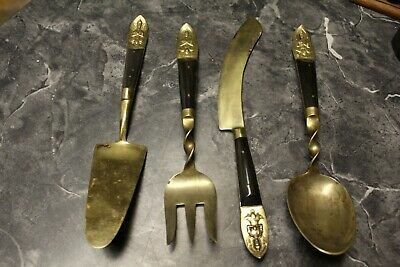 large spoon,fork and knife vintage hand made in thailand!!