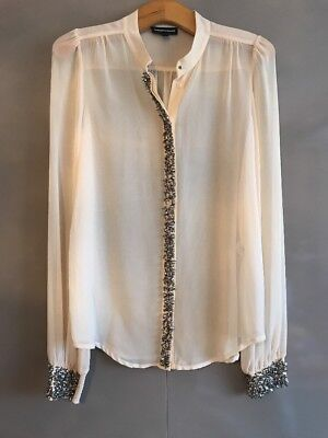 Warehouse Lovely Cream Sequin & Bead Detail Blouse Top - Size 10