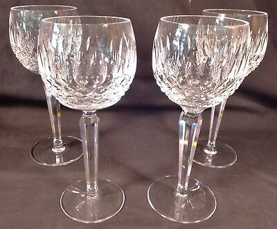 """4 Waterford Crystal Colleen  Irish Cut Glass Hock Wine Goblets 7 1/2"""""""