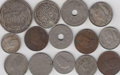 14 Old Egypt Coins, Includes Silver. Islamic Middle East Egyptian   L11