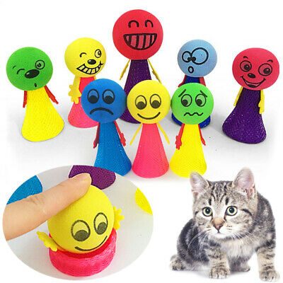 Funny Jumping Pet Cat Puppy Playing Toys Bouncing Toy Cute Cartoon Expression