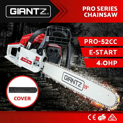 "GIANTZ 52cc  Petrol Chainsaw Commercial 20"" Bar E-Start Chain Saw Tree Pruning"