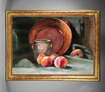 Francois Forichon (1865-1952) Aquarelle Nature Morte Aux Peches 1890 (248)