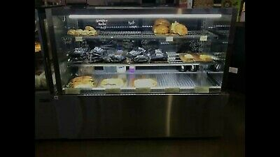 Cake & Cold Food Countertop Display, Square Refrigerated Presentation Unit 160L