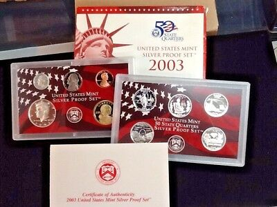 2003 U.S. Mint Silver Proof 10 Coin Set ~ Mint Condition