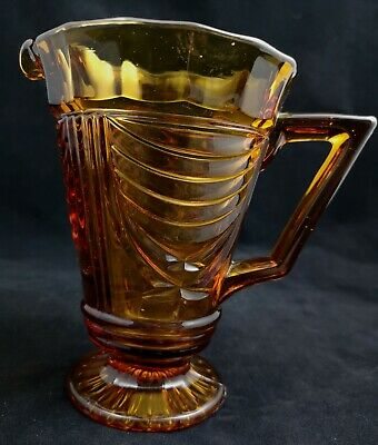 LOVELY  ART DECO AMBER GLASS JUG..C1920/30s..SOWERBY