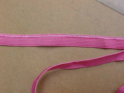 ELASTIC 3/8 Candy PINK Satin Stitched Edge 5 yds. Headbands Straps