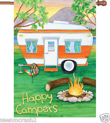 HAPPY CAMPERS House Flag w RV Trailer and Campfire Camping Fun  28 x40 Premier