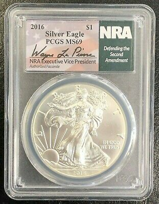 2016 American Silver Eagle MS69 PCGS $1 NRA Defending the 2nd Amendment Label