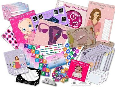 Baby Shower Party Games  /  10 GAMES PACK  /  PINK/GIRL  -  20 players