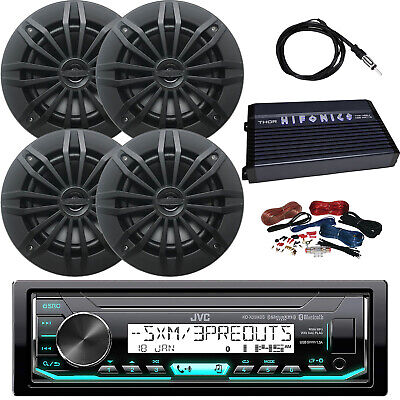 "JVC KD-X35MBS Receiver, 4 x 6.5"" Speakers (Black), Amplifier, Amp Kit, Antenna"