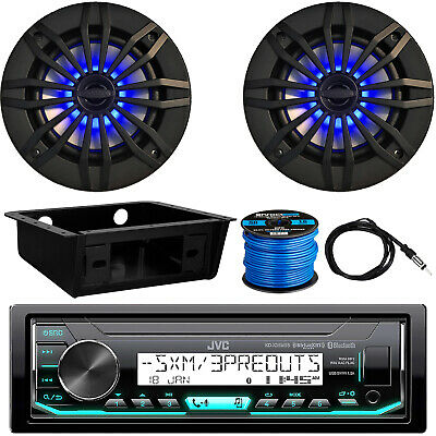 "JVC KD-X35MBS Receiver, 4 x 6.5"" LED Speakers, Dash Kit, Antenna, Speaker Wire"