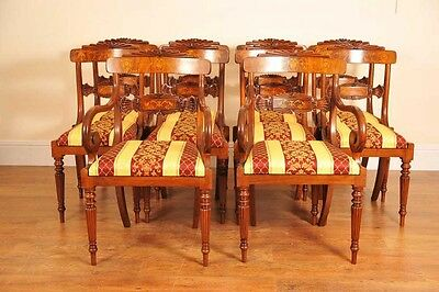 Set Regency Dining Chairs - 10 Walnut Inlay Chair English