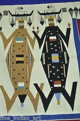 Fine Navajo Indian Sand Painting Rug Pictorial - Mother Earth Father Sky