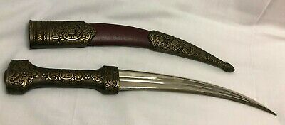 Vintage Fixed Blade Moroccan Knife/dagger W/intricate Pattern On Sheath