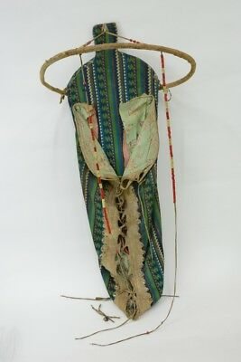 Antique Yakima Indian Cradleboard, - Native Tanned Hide and Trade Cloth