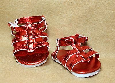 Doll Shoes fitting 18 in American Girl Dolls Red Metallic Strappy Sandals