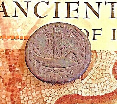 Ancient Greek Roman Empire Coin Marc Anthony Cleopatra Caesar Nero Ship Bronze E