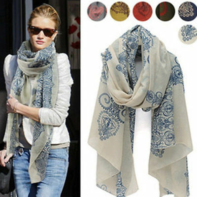 Womens Ladies Soft Long Floral Pattern Scarf Wrap Chiffon Voile Shawl Scarves