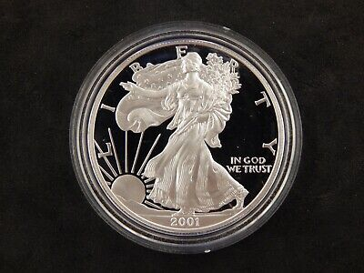 2001-W Proof 1 oz Silver Eagle .999 Fine US Mint $1 Coin NO BOX or COA #764