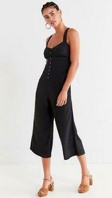 a1eda140b0ae (NWOT URBAN OUTFITTERS UO ASHER EMPIRE WAIST BUTTON-DOWN BLACK JUMPSUIT sz  XS)