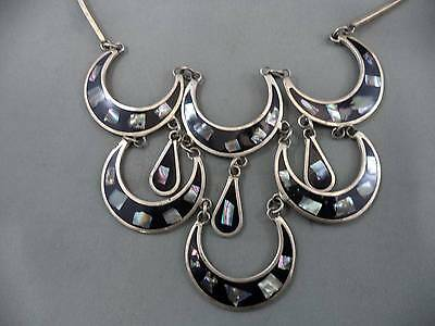 Vintage Estate Alpaca Silver Necklace Abalone & Enamel Droopy Dangling WOW WOW!