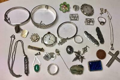 Collection Of Vintage & Antique Sterling Silver Jewellery Brooch Bracelet Watch