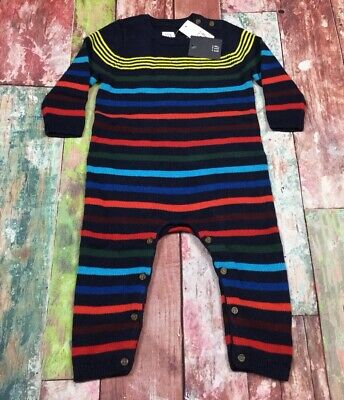 Baby Gap Boys 0-3 Month Navy Blue & Bright Striped Sweater Romper. Nwt