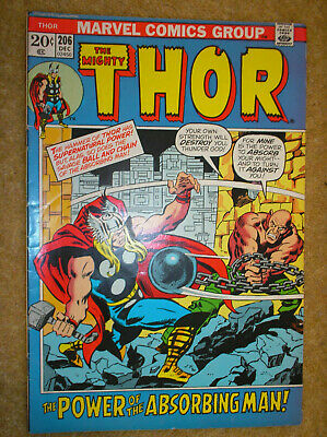 THOR # 206 ABSORBING MAN CONWAY BUSCEMA 20c 1972 BRONZE AGE MARVEL COMIC BOOK