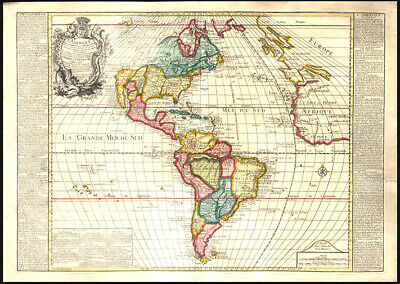 1761 N. Bailleul & Daudet Early Map of The Americas Hand-Colored Engraving