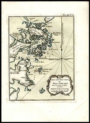 1765 Bellin Hand-Colored Map of Coast & Islands of China Decorative Cartouche