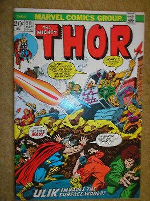 THOR # 211 ULIK CONWAY DON PERLIN BUSCEMA 20c 1973 BRONZE AGE MARVEL COMIC BOOK