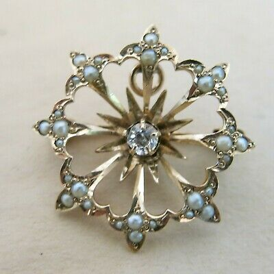 Victorian 14K Yellow Gold Brooch Pendant with Seed Pearls 2.8g [4432]