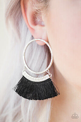 Paparazzi Jewelry ~This Is Sparta! - Black~ Fringe Earrings Stunning NWT  RARE!