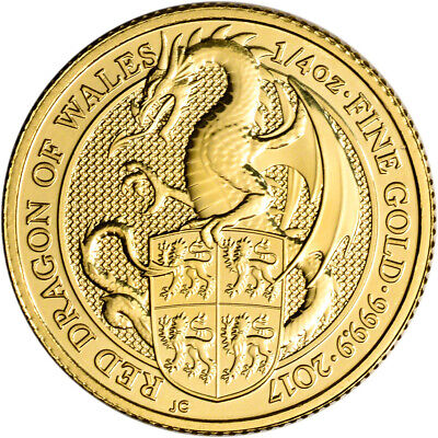 2017 Great Britain Gold Queen's Beasts - Red Dragon £25 - 1/4 oz - BU