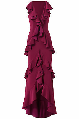 9eb31e2fc35 Jay Godfrey Purple Women s Size 6 Gown Ruffle V-Neck High-Low Dress  598