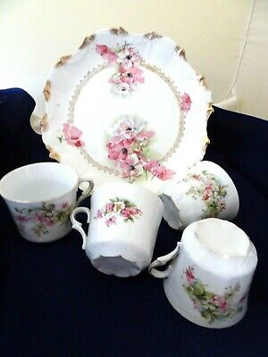 """1960'S Porcelain 10.5"""" Cake Plate W. 4 Matching Coffee Cups-Pink/White Flowers"""