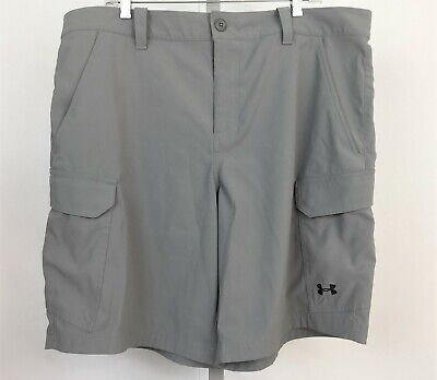 e5d1c1113d UNDER ARMOUR Mens Size 40 Gray Fish Hunter Cargo Shorts HeatGear Loose Storm