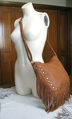 ANTIK KRAFT Whiskey Brown Brass Stud Suede Fringe Crossbody Boho Bag Handbag
