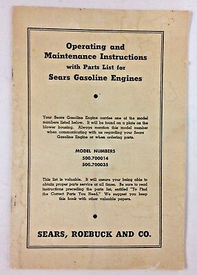 Vtg. SEARS, ROEBUCK and Co Operating & Maintenance, parts list for Gas Engines