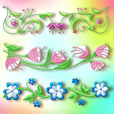 Floral Borders 20 MACHINE EMBROIDERY DESIGNS CD or USB