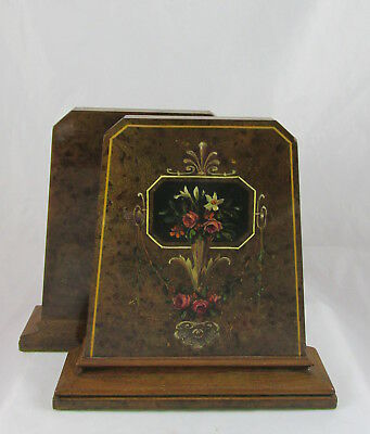 Antique Burled Walnut Solid Wood Bookends Hand Painted Floral Swag Inlaid Trim