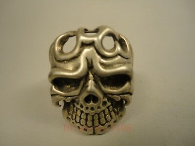 China Tibet Silver Hand-made Exorcism Human Skeleton Statue Ring Decoration Gift