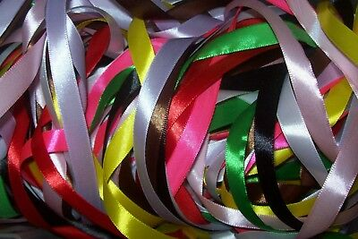 "10 metres (10 x 1 m) Assorted Colours of 12mm 1/2"" Satin Ribbon Off Cuts Bundle"