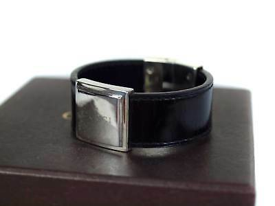 3433bbf31 GUCCI ITALY MADE Genuine Leather & Sterling Silver Mens Bracelet 8.5 ...