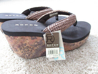 """b4113a33acc9 Women s Roper 3"""" Wedge Aztec Western Flip Flop Thong Sandals size 9 Brown  NWT"""