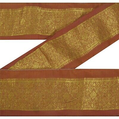 Antiques Sanskriti Vintage Sari Border Craft Brown Trim Hand Embroidered Sewing Lace